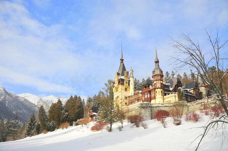 Fairy-tale castle in the winter royalty free stock photos