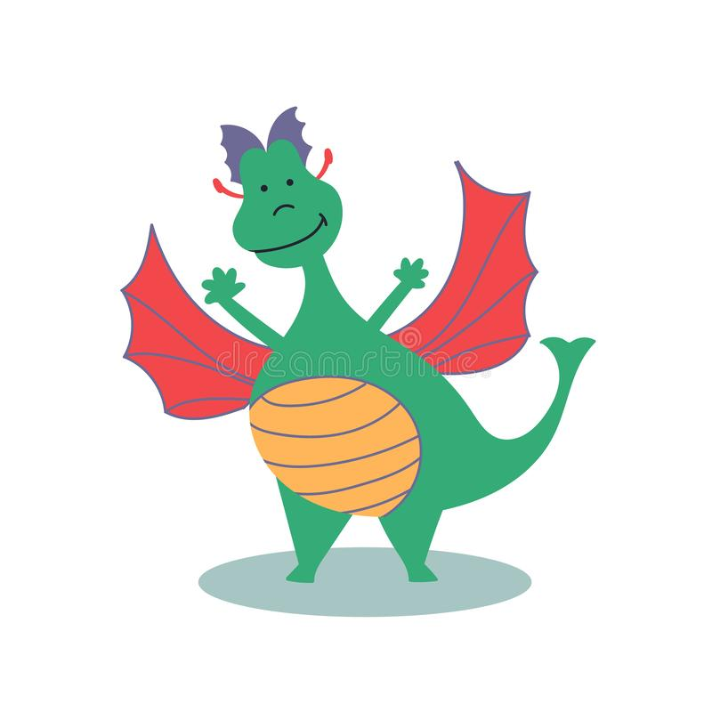 Fairy-tale character cheerful dragon. Fairy tales. Editable Vector Illustration vector illustration