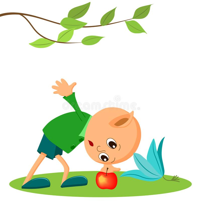 A fairy tale character, a little garden elf and an Apple. Children`s illustration, cartoon vector illustration