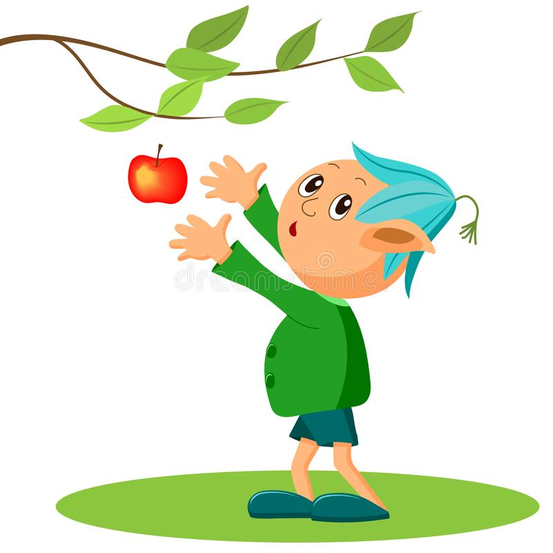 A fairy tale character, a little garden elf and an Apple. Children`s illustration, cartoon stock illustration