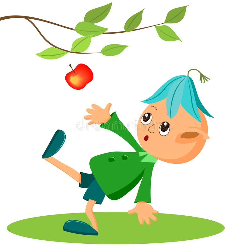 A fairy tale character, a little garden elf and an Apple. Children`s illustration, cartoon royalty free illustration