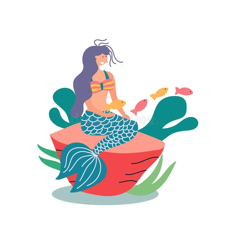 Fairy-tale character mermaid with a tail sitting on a stone. Fairy tales. Vector editable illustration vector illustration