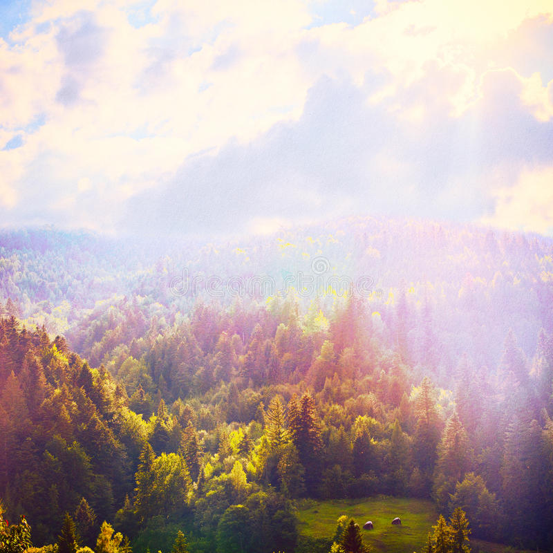 Fairy Tale Forest in Retro Style. Mountain Landscape, Nature background stock illustration