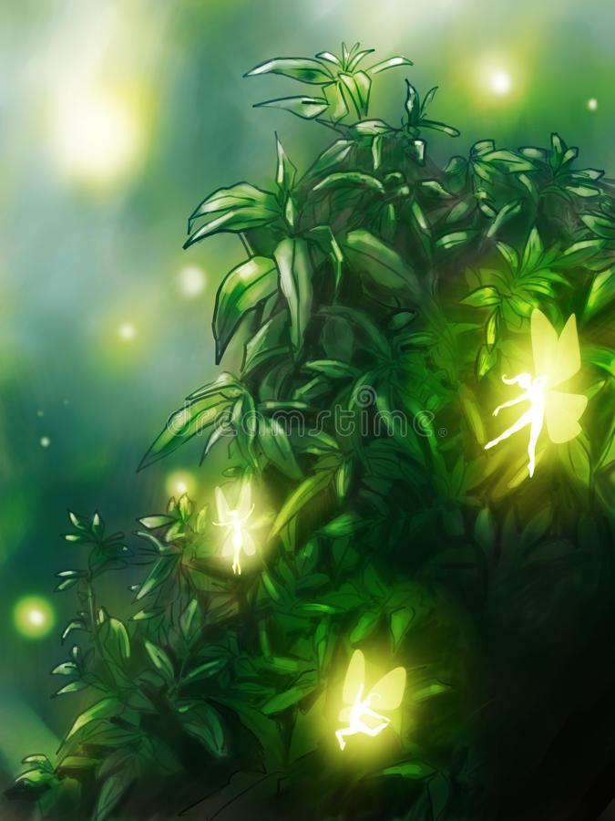Fairy tale garden background. Mysterious garden where little fairies dance in the night. Digital art royalty free illustration