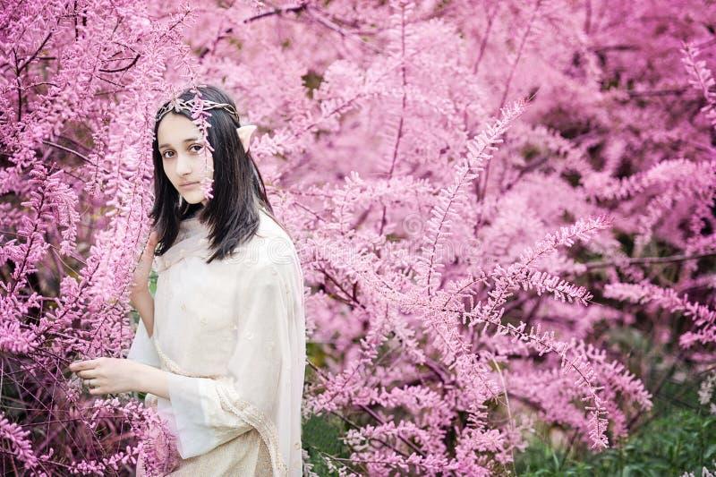 Fairy tale girl. Portrai of mystic elf woman. stock photo