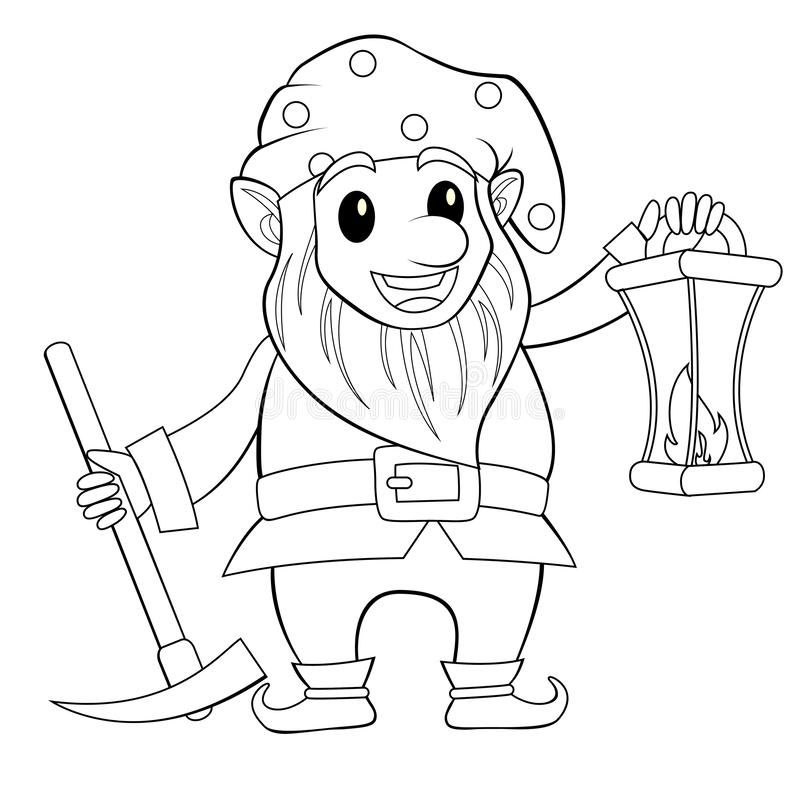 Fairy tale gnome with lamp. Dwarf. Elf. Black and white vector illustration for coloring book vector illustration