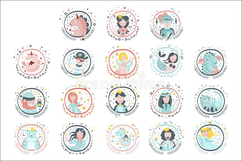 Fairy Tale Heroes Girly Stickers In Round Frames. In Childish Simple Design Isolated On White Background stock illustration