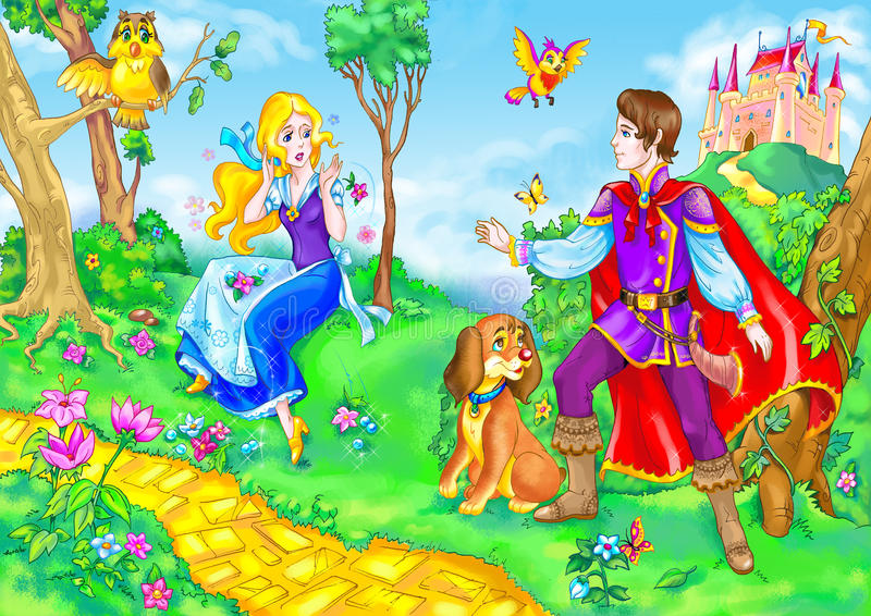 Download Fairy Tale Heroine And Prince Stock Illustration - Image: 10376451