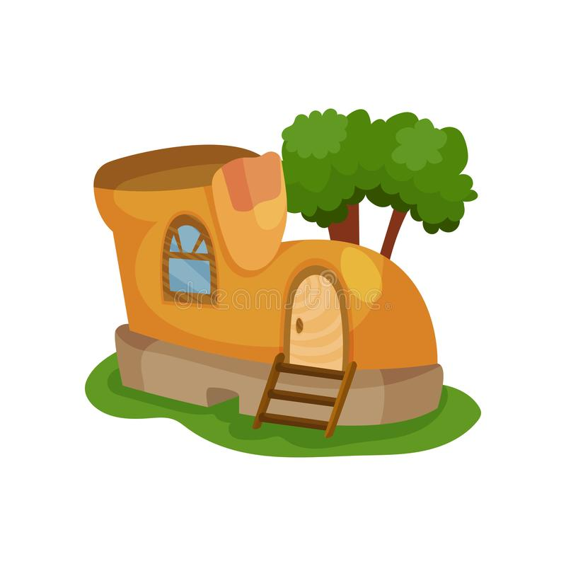 Fairy-tale house in form of yellow shoe with little window and wooden ladder in front of entrance door. Green tree on vector illustration