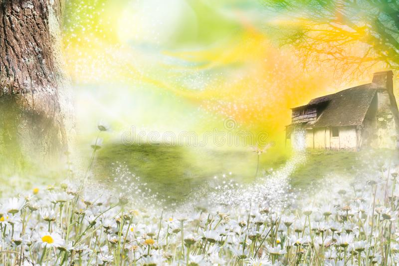 Fairy tale house in magical fantasy world royalty free illustration