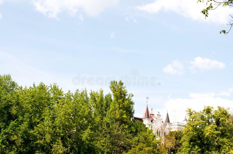 Fairy-tale house among trees royalty free stock photos