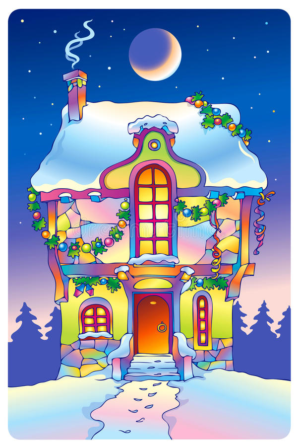 Fairy tale house under the moonlight royalty free stock photos