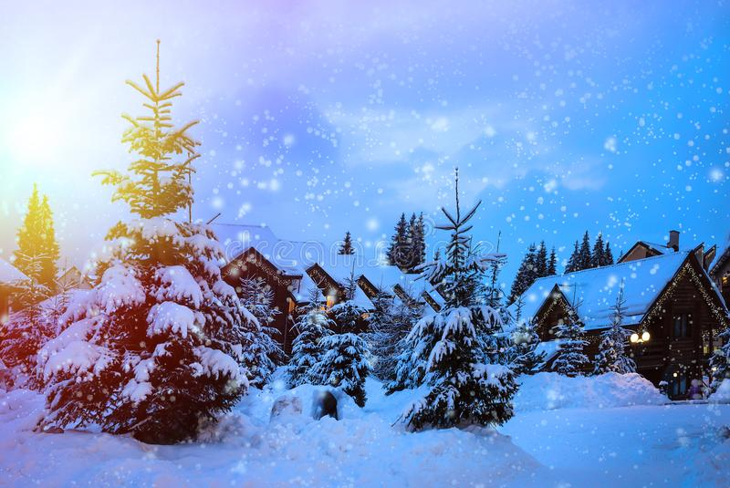 Christmas winter landscape stock image