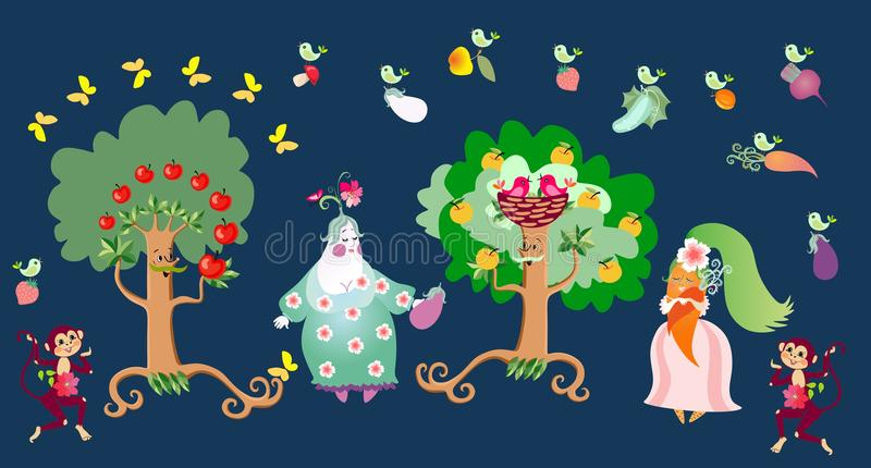 Fairy tale illustration with cute cartoon characters: apple trees, eggplant and carrot, birds and monkeys. Vector image for childr. Fairy tale illustration with royalty free illustration
