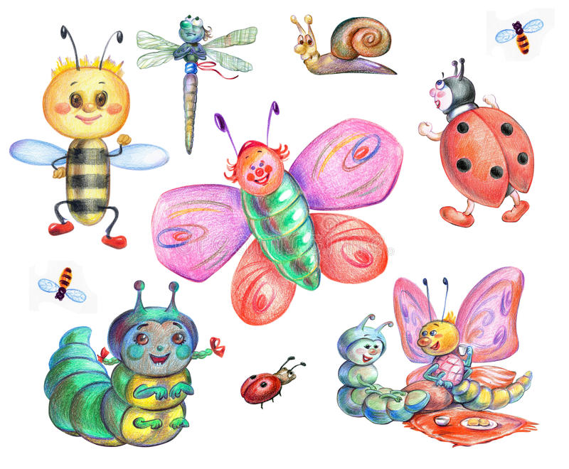 Fairy-tale insects stock photography