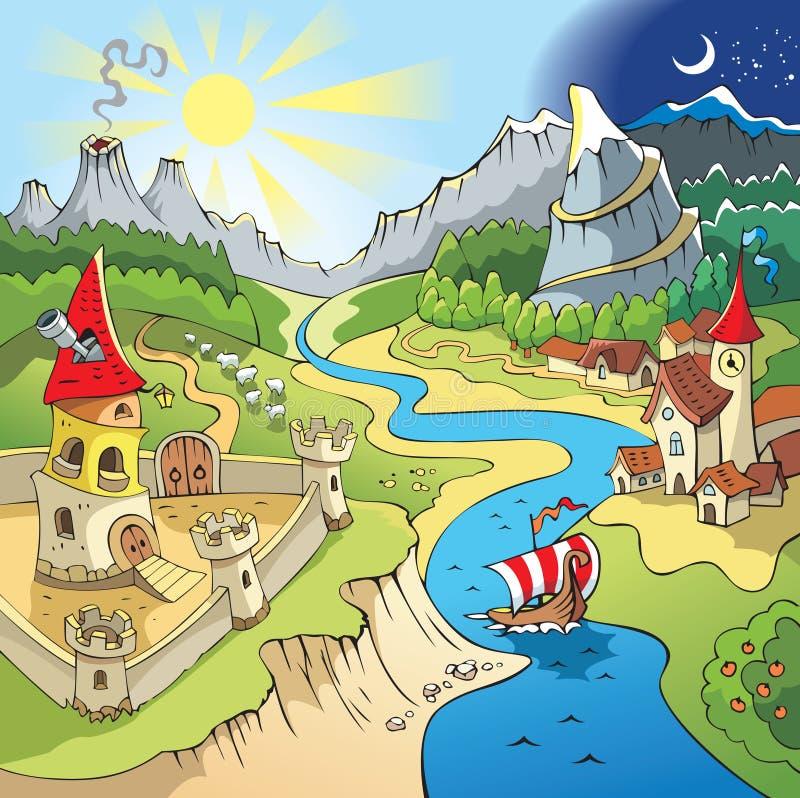 Fairy-tale landscape stock illustration