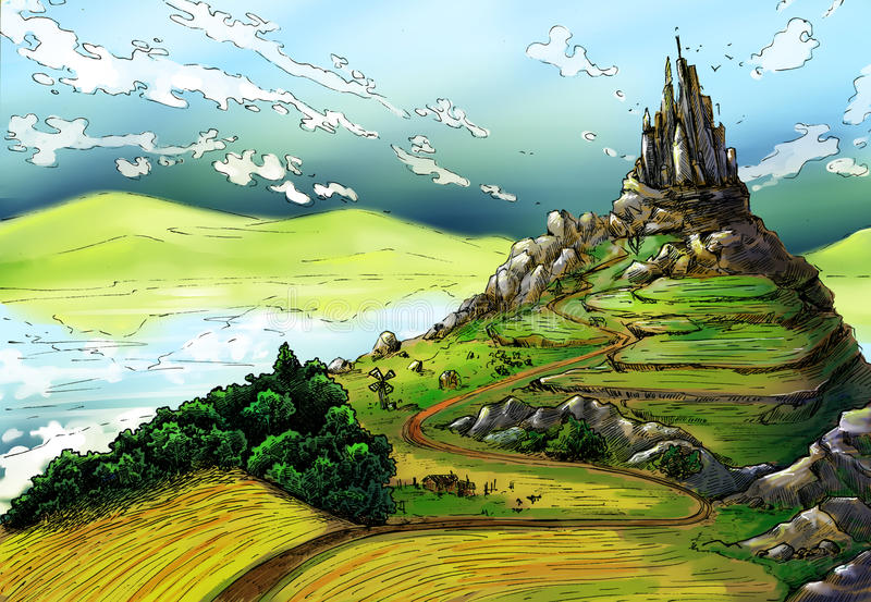 Fairy tale landscape with castle. And green, rich lands around it. There is a lake, and fields, and mill, and houses, and mountains around. The sky is blue and stock illustration