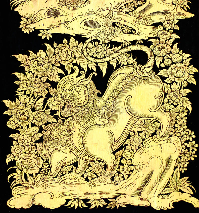 Fairy tale leo in traditional Thai style art. Painting on window of the temple stock images
