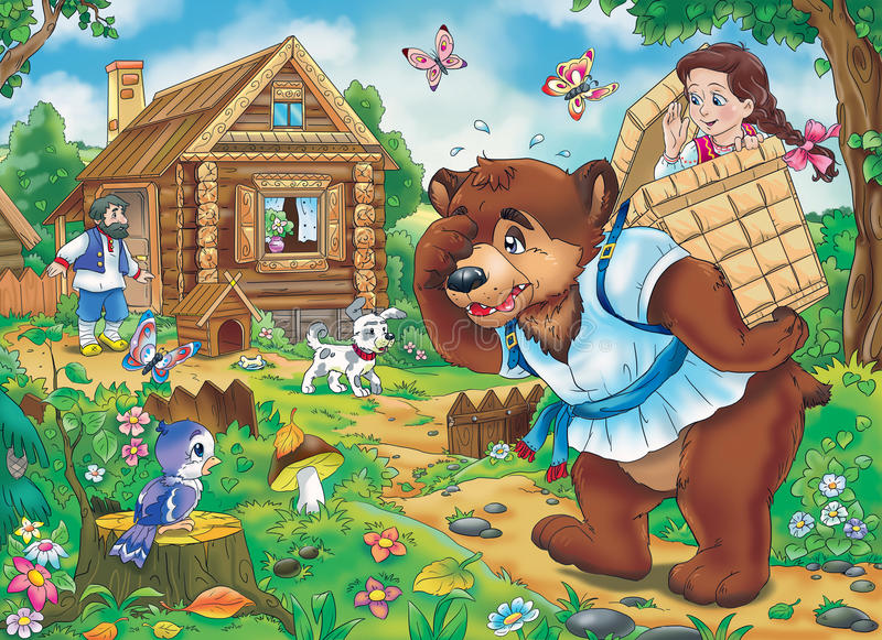 Fairy tale. Masha and the Bear: illustration for the old east European folklore royalty free illustration
