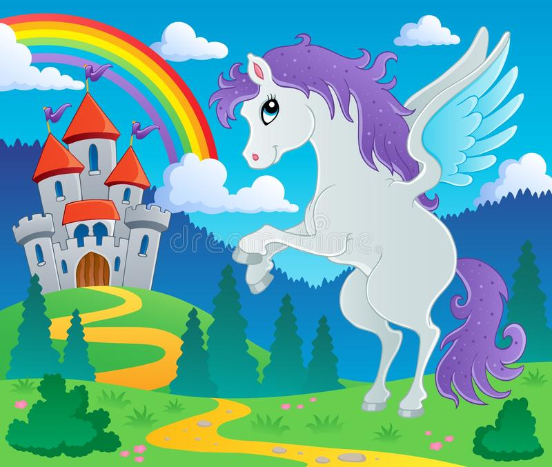 Fairy tale pegasus theme image 2 royalty free illustration