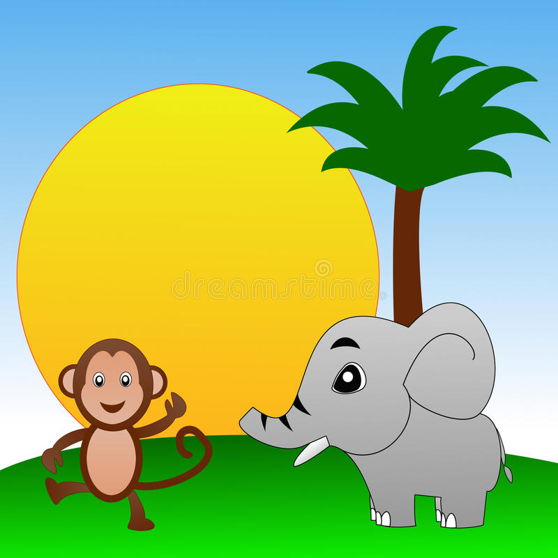 Fairy-tale personages elephant and monkey on a green lawn. Illustration royalty free illustration