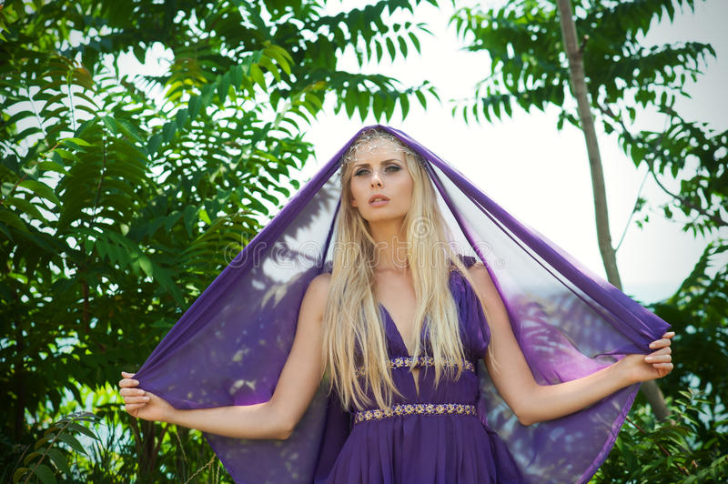 Download Fairy-tale - Portrait Of Woman In Purple With Veil Stock Image - Image: 26535145