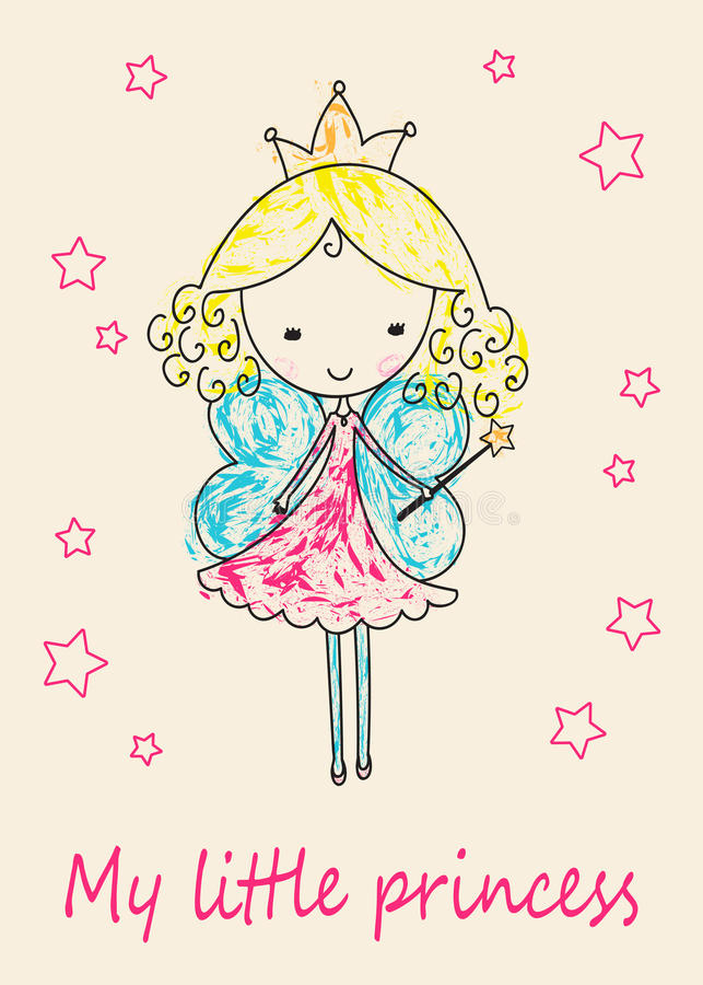 Fairy Tale Princess greeting card stock illustration