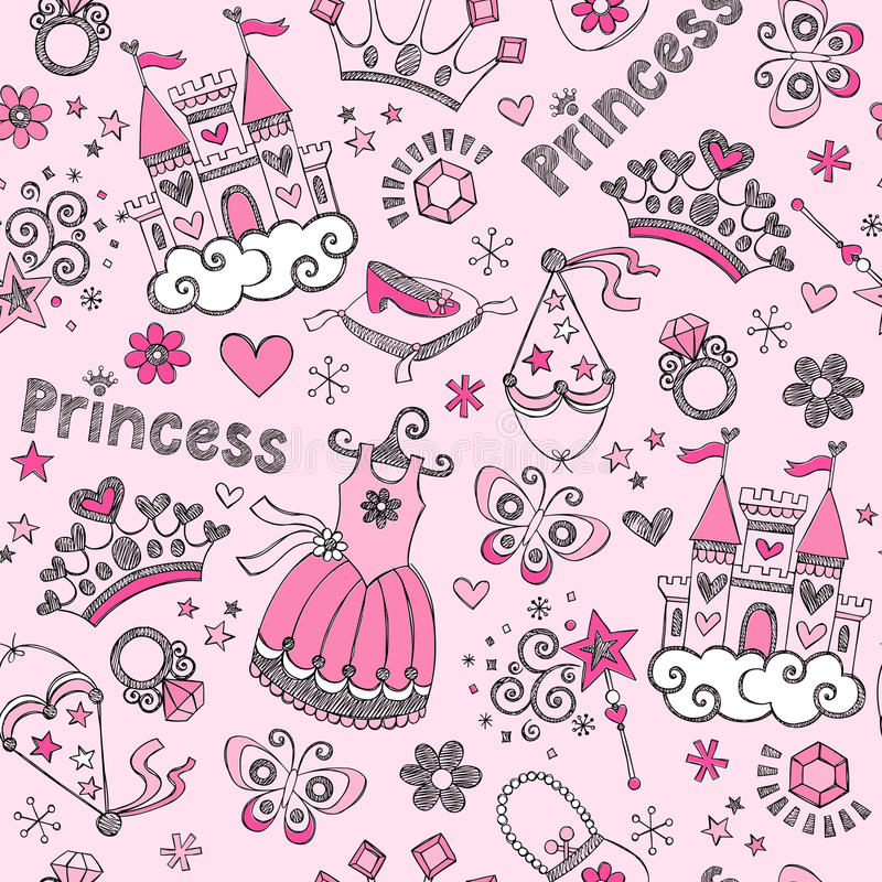 Fairy Tale Princess Pattern Sketchy Doodles Vector Royalty Free Stock Images