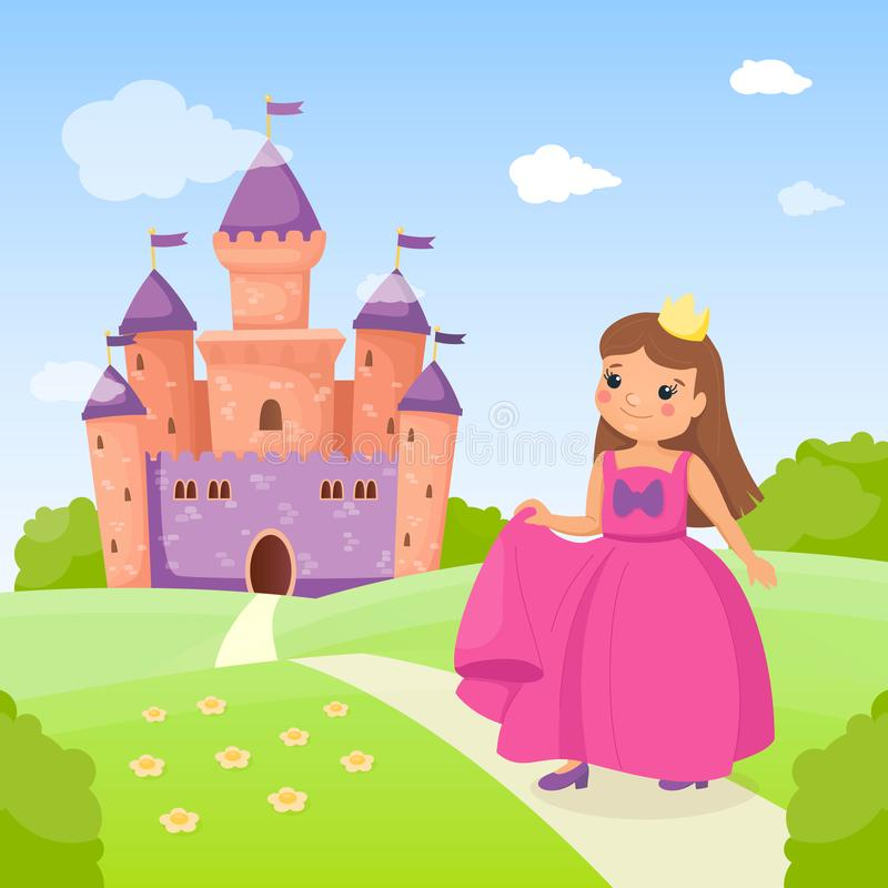 Fairy tale princess in pink beautiful dress and her cute purple castle. Pretty girl is on the road to go home. Summer royalty free illustration