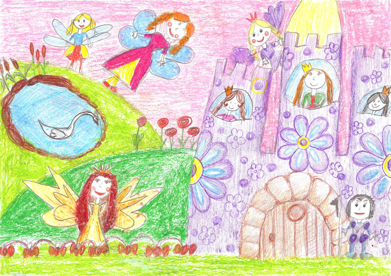 Fairy of a tale, princess, prince - children drawing stock illustration