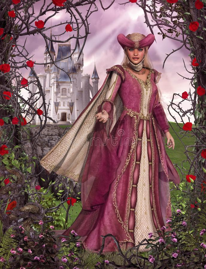 Fairy Tale Princess Sleeping Beauty Rose Castle royalty free illustration