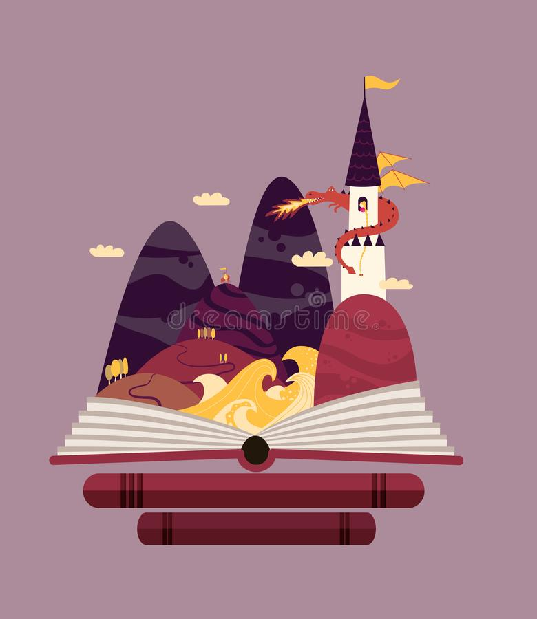Fairy tale story illustration with princess in tower and dragon. stock illustration