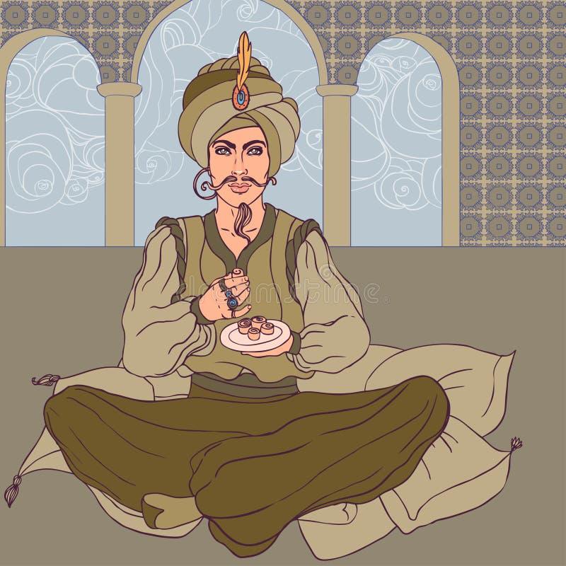 Fairy tale sultan: Arab men enjoying east sweets vector illustration