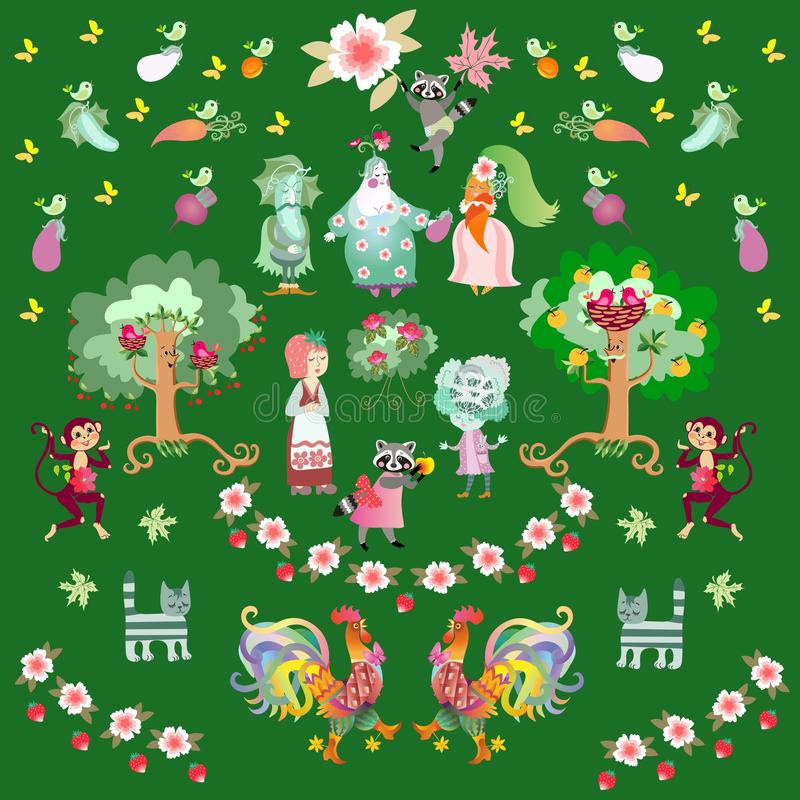 Fairy tale summer background with cute cartoon raccoons, roosters, cats and monkeys in the garden. Fairy tale summer background with cute cartoon characters stock illustration
