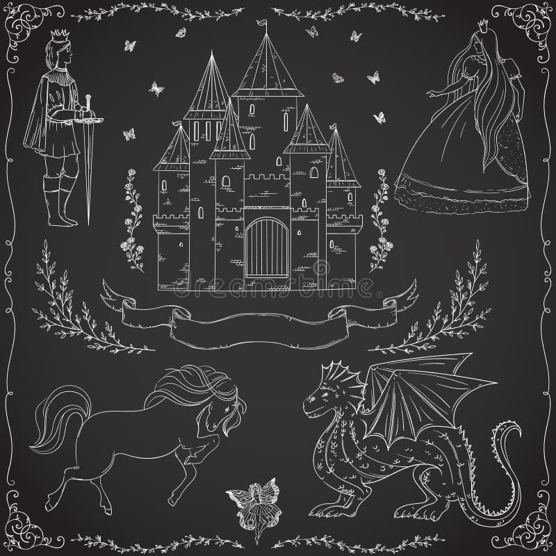 Fairy tale theme. Prince, princess, castle, dragon, fairy, horse. royalty free illustration