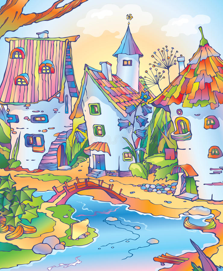 Fairy tale town located among flowers royalty free stock photography