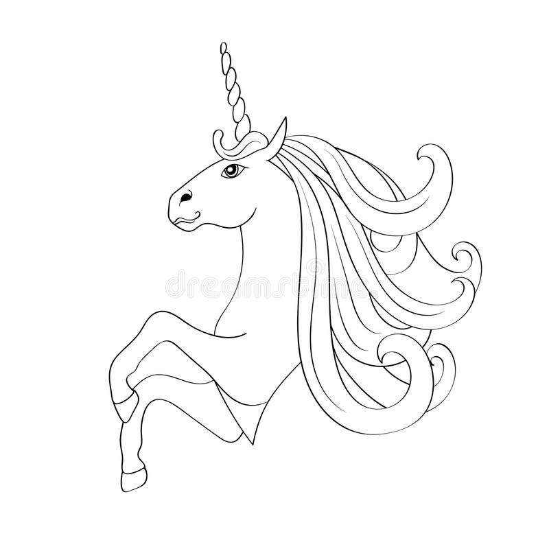 Royalty Free Vector Download Fairy Tale Unicorn Sketch For Coloring Book Stock