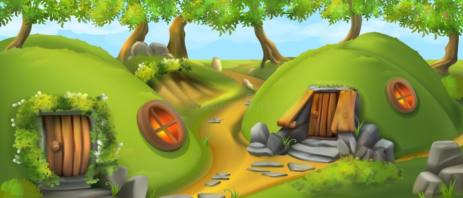Fairy Tale Village. Leprechaun house. Landscape vector illustration royalty free illustration