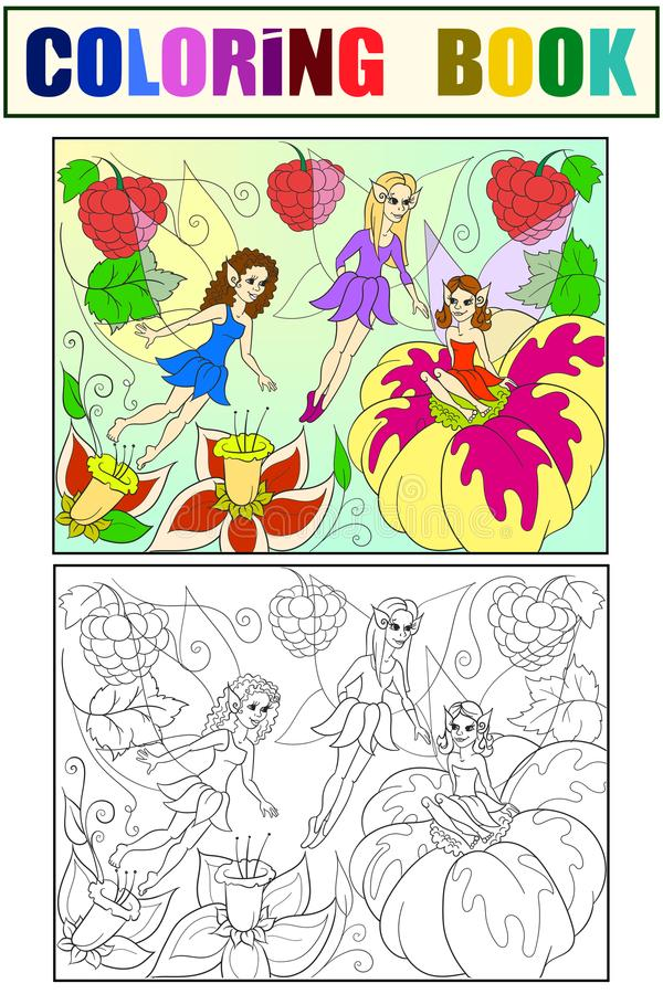 Fairy-tale world of fairies coloring book for children cartoon illustration. White, black and color. Fairy-tale world of fairies coloring book for children stock illustration