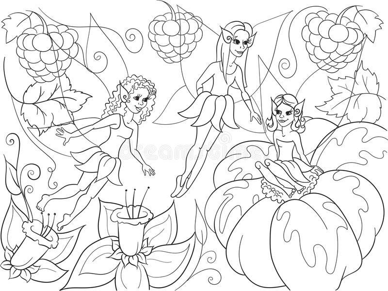 download fairy tale world of fairies coloring book for children cartoon vector illustration stock vector - Fairies Coloring Book