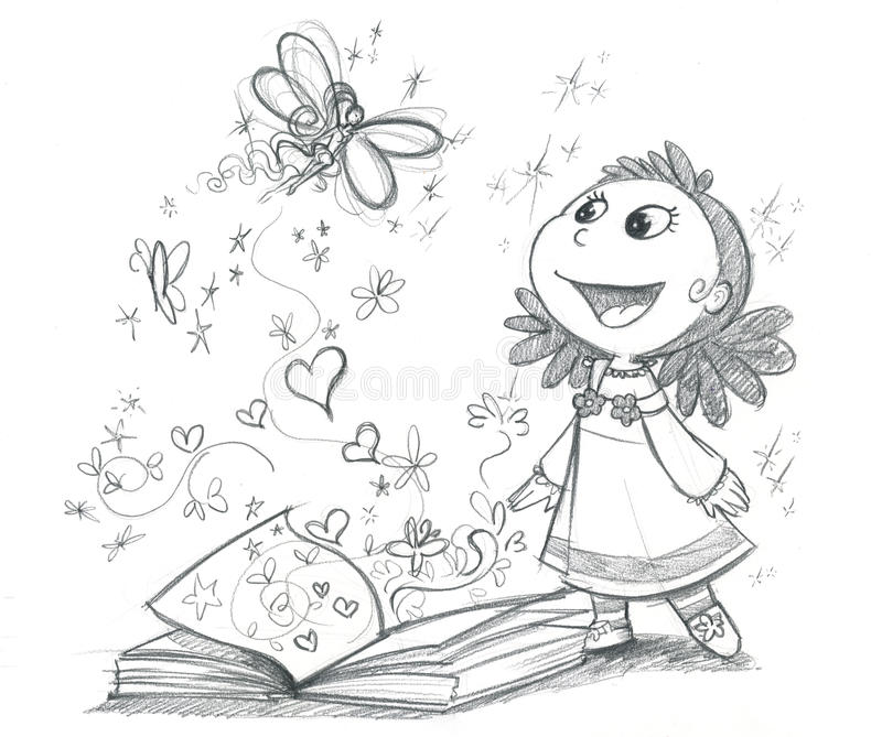 Fairy tales book BW stock illustration