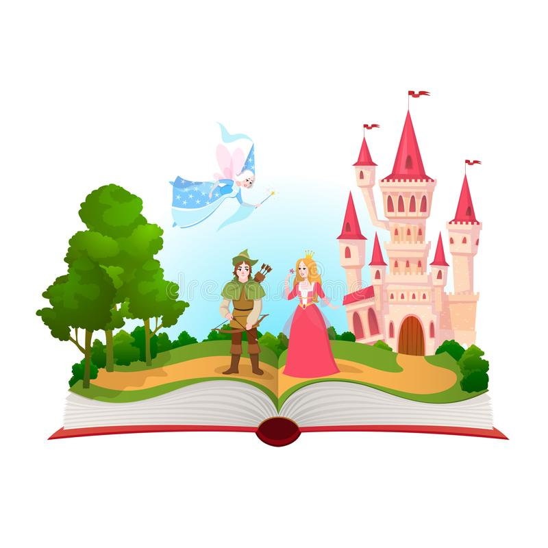 Fairy tales book. Fantasy tale characters, magic life library. Open book with fantasy kingdom castle. Kids dream vector. Background fairty child comic reading vector illustration