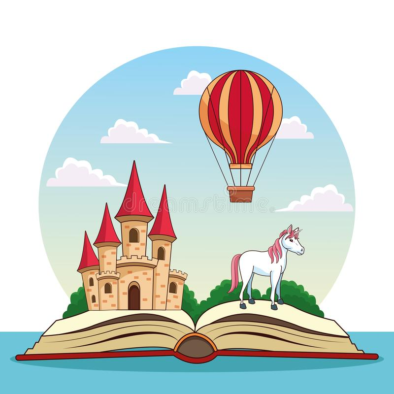 Fairy tales books. Fairy tales book open with fantasy cartoons stock illustration