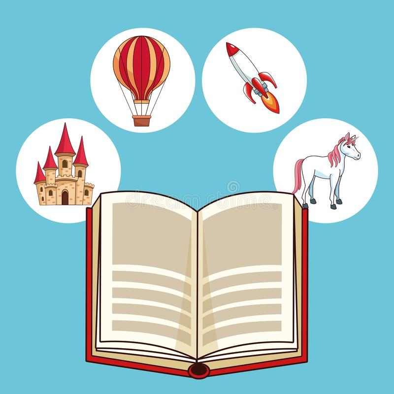 Fairy tales books. Fairy tales book open with fantasy cartoons royalty free illustration