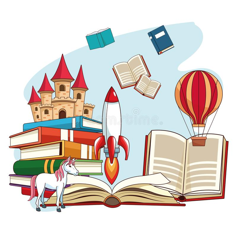 Fairy tales books. Fairy tales book open with fantasy cartoons vector illustration graphic design stock illustration