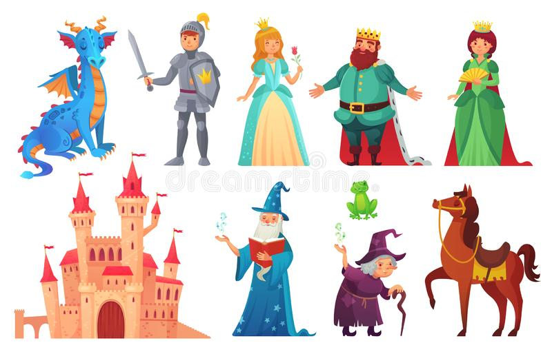 Fairy tales characters. Fantasy knight and dragon, prince and princess, magic world queen and king isolated cartoon stock illustration