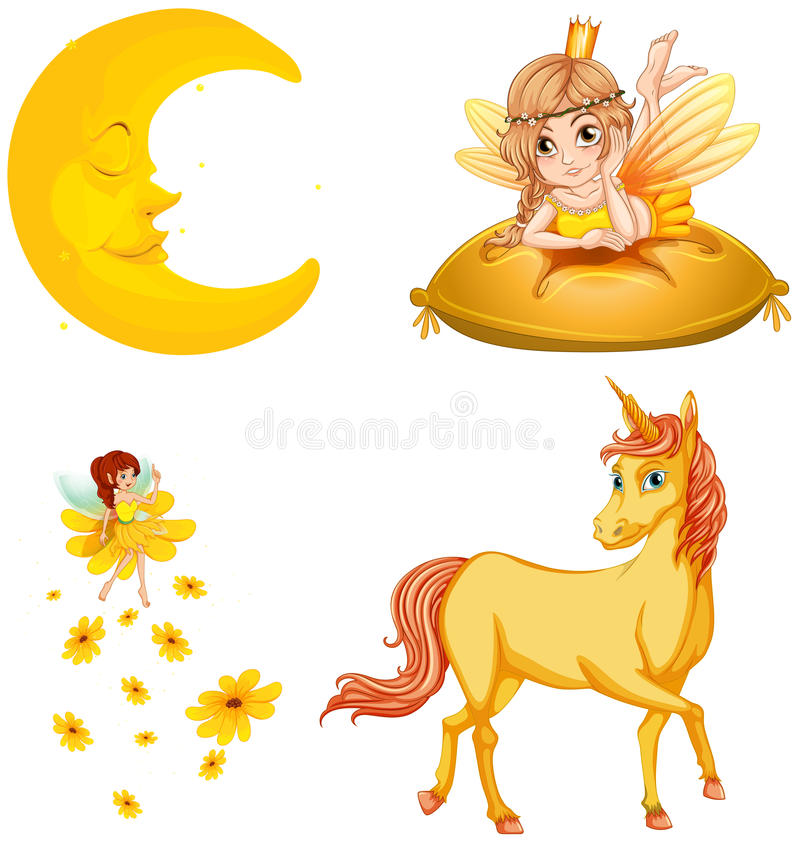 Fairy tales characters and moon. Illustration vector illustration