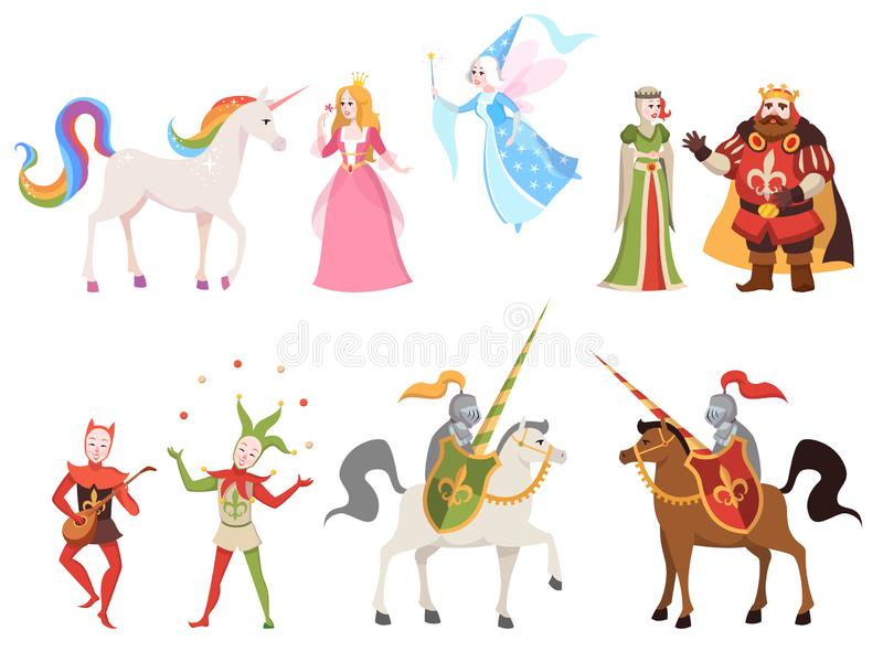 Fairy tales characters. Wizard knight queen king princess prince medieval fairy castle dragon magic set cartoon, vector royalty free illustration