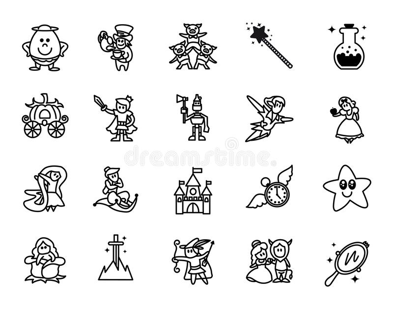 Fairy tales icons set. Set of Fantasy Related Vector Line Icons. Set of 20 minimal fable icons.  vector illustration