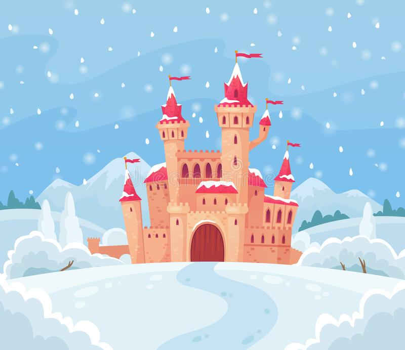 Fairy tales winter castle. Magical snowy landscape with medieval castle cartoon vector background illustration royalty free illustration